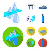Filter, filtration, nature, eco, bio .Water filtration system set collection icons in cartoon,flat style vector symbol. Stock illustration Stock Photos