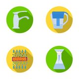 Filter, filtration, nature, eco, bio .Water filtration system set collection icons in flat style vector symbol stock Royalty Free Stock Images