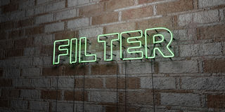 FILTER - Glowing Neon Sign on stonework wall - 3D rendered royalty free stock illustration. Can be used for online banner ads and direct mailers Royalty Free Stock Photography
