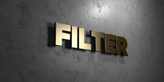 Filter - Gold sign mounted on glossy marble wall  - 3D rendered royalty free stock illustration Royalty Free Stock Images