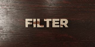 Filter - grungy wooden headline on Maple  - 3D rendered royalty free stock image. This image can be used for an online website banner ad or a print postcard Stock Photography