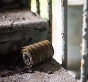 Filter masks on the floor in Pripyat Stock Images