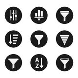 Filter objects icons industry set. Service parts collection, technology emblems, checking instrument. Vector flat style illustration  on white background Stock Images