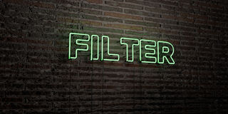 FILTER -Realistic Neon Sign on Brick Wall background - 3D rendered royalty free stock image. Can be used for online banner ads and direct mailers Royalty Free Stock Photo