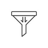 Filter, sort line icon, outline vector sign, linear style pictogram isolated on white. Symbol, logo illustration. Editable stroke. Pixel perfect Royalty Free Stock Image