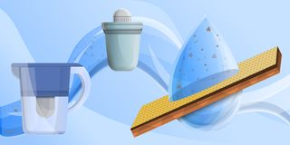 Filter water concept banner, cartoon style. Filter water concept banner. Cartoon illustration of filter water vector concept banner for web design stock illustration