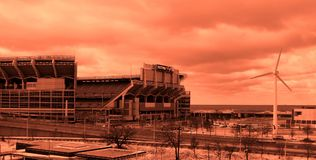 A filtered orange look at First Energy Stadium - CLEVELAND - OHIO - BROWNS. FirstEnergy Stadium is a multi-purpose stadium in Cleveland, Ohio, United States royalty free stock photography