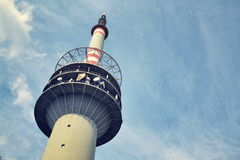 Filtered picture of transmitter and aerials on the telecommunication tower Stock Images