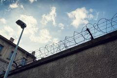 Filtered vintage picture of barbed wire fence Royalty Free Stock Photos