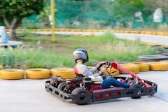 Filterend schot van ga -gaan-kart raceauto stock foto