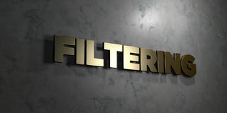 Filtering - Gold text on black background - 3D rendered royalty free stock picture Royalty Free Stock Photography