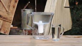 Filtern Sie Wasserbehandlung auf dem Dorfziehbrunnenhintergrund stock video footage