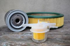 Auto parts accessories: oil , fuel or air filter for engine car royalty free stock photography
