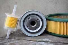 Auto parts accessories: oil , fuel or air filter for engine car royalty free stock images