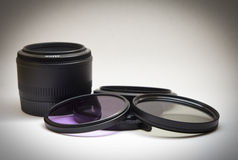 Filters and a 50 mm lenses. With vignette Stock Photo