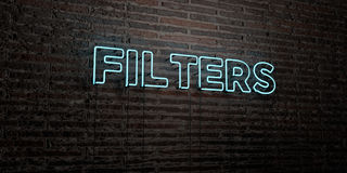FILTERS -Realistic Neon Sign on Brick Wall background - 3D rendered royalty free stock image Stock Images