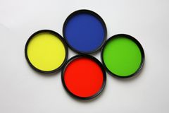 Filters, Red, Yellow, Blue and Green Royalty Free Stock Photo