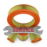 Filters and wrench. Air filters and wrench with the inscription service Royalty Free Stock Photo