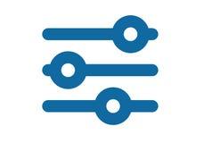 Filtersymbol Solida inställningar för jämvikt eller för utjämnare Arkivbild