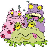 Filth 2. Filthy bacteria creatures and flies Stock Image