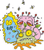 Filth. Y bacteria creatures and flies Stock Photo
