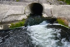 Filth flowing out from sewage Royalty Free Stock Photo