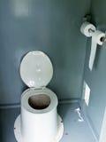 Filthy camp ground latrine outhouse inside toilet Stock Photos