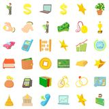 Filthy lucre icons set, cartoon style. Filthy lucre icons set. Cartoon set of 36 filthy lucre vector icons for web isolated on white background Stock Photo