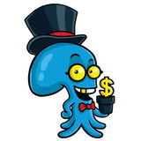 Filthy Rich Octopus Planting Money. Cartoon Stock Images