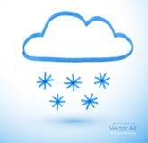 Filtpennteckning av det snöig molnet Royaltyfria Foton