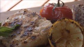 Filtração nas folhas de hortelã fresca, em tomates de cereja fritados, em fatia de limão e em peixes grelhados vídeos de arquivo
