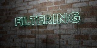 FILTRAGE - Enseigne au néon rougeoyant sur le mur de maçonnerie - 3D a rendu l'illustration courante gratuite de redevance illustration de vecteur