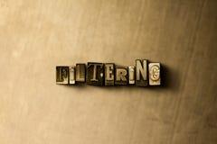 FILTRAGE - le plan rapproché du vintage sale a composé le mot sur le contexte en métal illustration de vecteur