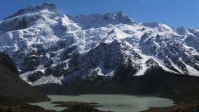 Filtraggio del colpo di una montagna, di un ghiacciaio e di un lago al cuoco di mt stock footage