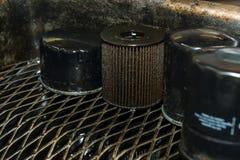 Filtres à huile utilisés Image libre de droits