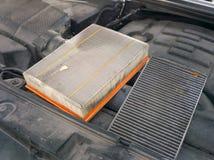 Filtres sales de voiture d'air photo libre de droits