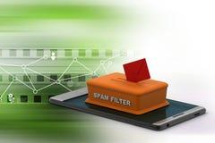 Filtro antispam en el teléfono elegante Imagen de archivo libre de regalías