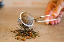 Filtro aperto del tè della mano Fotografia Stock