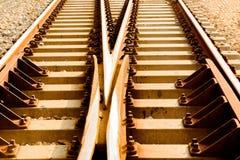 Filtro d'annata: Il concetto di scelte sulla spaccatura della ferrovia Fotografia Stock Libera da Diritti