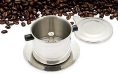 Filtro da caffè francese del gocciolamento fotografie stock