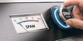 Filtro da email dello Spam, concetto di filtrazione della posta Fotografia Stock