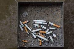 Filtro da extremidade da cinza de cigarro no lixo Fotos de Stock Royalty Free