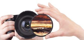 Filtro dalla macchina fotografica del tiro del paesaggio isolato Immagini Stock Libere da Diritti