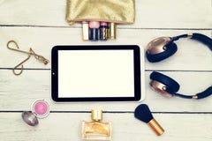Filtro de Instagram Maqueta de la moda con los accesorios de la señora del negocio fotografía de archivo libre de regalías
