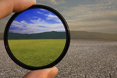 Filtro ottimista dall'obiettivo Fotografia Stock Libera da Diritti