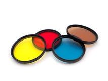 Filtros de cor isolados no fundo branco Fotografia de Stock Royalty Free