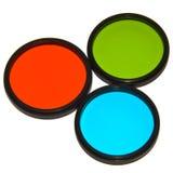 Filtros rojos, verdes y azules de la lente Foto de archivo