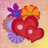 Filz-Valentinsgrußkarte Lizenzfreies Stockbild
