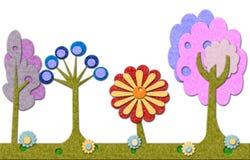 Filzbaum- und -blumenhintergrund lizenzfreie abbildung