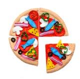 Filzpizza Filzlebensmittelspielwaren für die Kinder Lizenzfreie Stockbilder